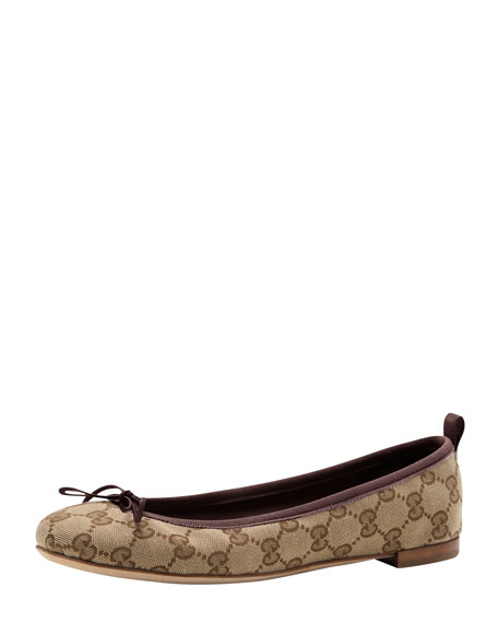 Gucci GG Bow Ballerina Flat, Cocoa