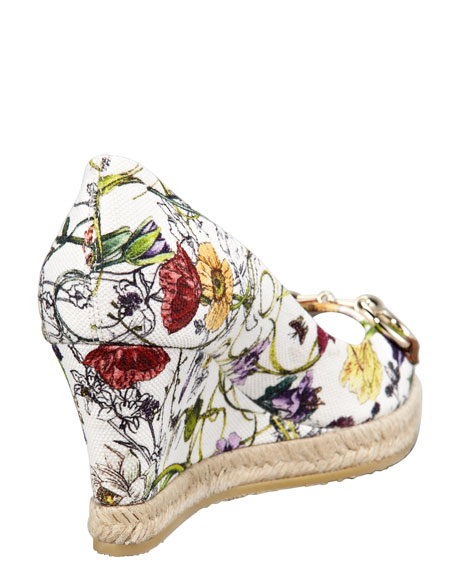 Floral-Print Canvas Wedge