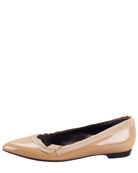 Pointed-Toe Patent Leather Ballerina Flat, Nude