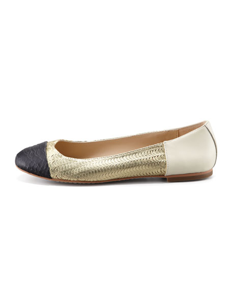 Baca Fish-Scale Ballerina Flats, Black/Gold/Cream