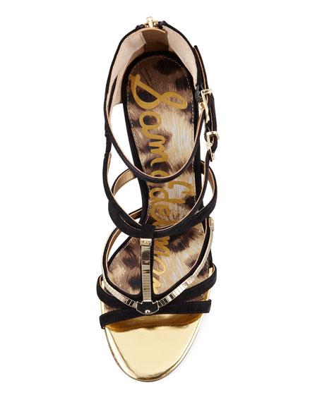 Alena Strappy Suede & Metallic Sandal, Black