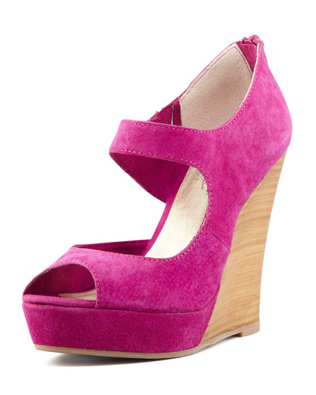 Down to the Wire Wedge Sandal, Plum