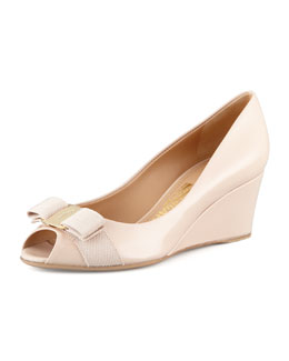 Salvatore Ferragamo Sissi Vara Mid-Wedge Pump, New Bisque