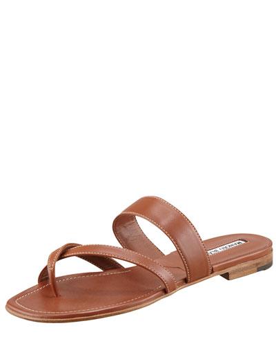Manolo Blahnik Susa Flat Leather Sandal, Luggage