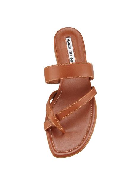 Susa Flat Leather Sandal, Luggage