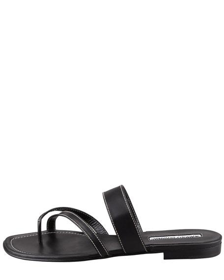 Susa Flat Leather Sandal, Black