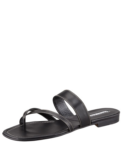 Manolo Blahnik Susa Flat Leather Sandal, Black