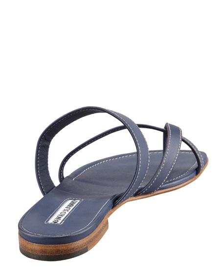 Susa Flat Leather Sandal, Blue
