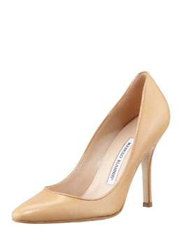 Manolo Blahnik Tuccio Leather Pointed-Toe Pump, Beige