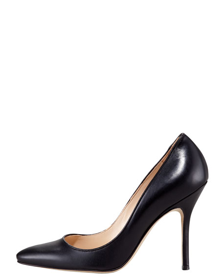 Tuccio Sam Leather Pointed-Toe Pump, Black
