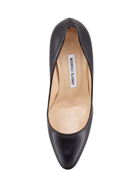 Manolo Blahnik Tuccio Sam Leather Pointed-Toe Pump, Black