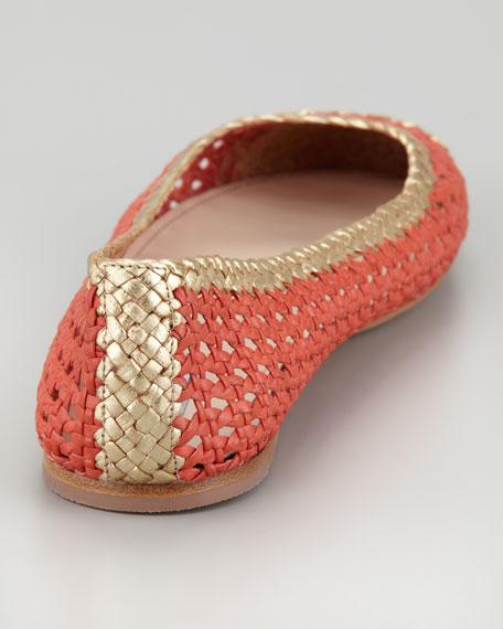 Bicolor Woven Ballerina Flat, Strawberry/Gold