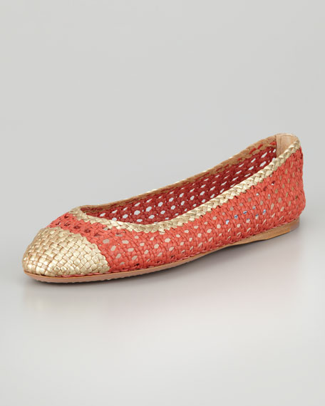 Bicolor Woven Ballerina Flat, Strawberry/Gold