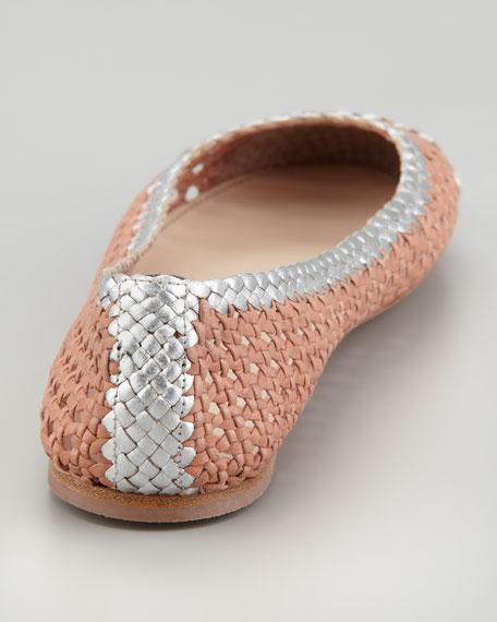 Bicolor Woven Ballerina Flat, Rose/Silver