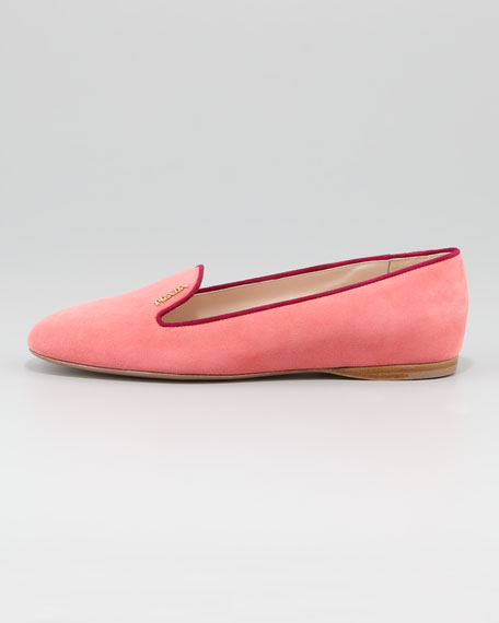 Bicolor Suede Smoking Slipper, Geranium/Burgundy