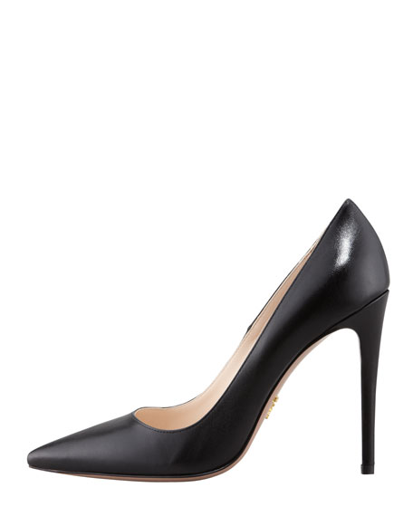 Capretto Leather Pointed-Toe Pump, Black
