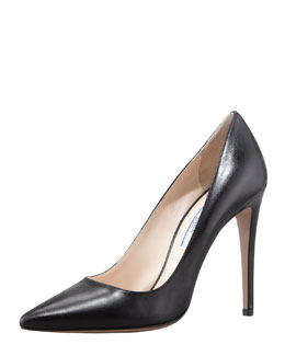 Prada Capretto Leather Pointed-Toe Pump, Black