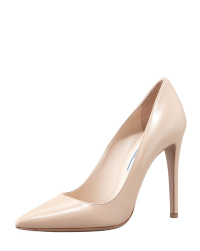 Prada Capretto Leather Pointed-Toe Pump, Cipria