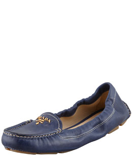 Prada Leather Scrunch Loafer, Navy