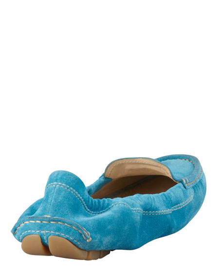 Suede Scrunch Driver, Turquoise
