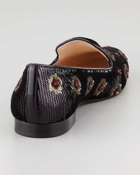 Flower Sequin Smoking Slipper