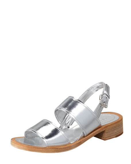 Metallic Double-Banded Sandal, Silver