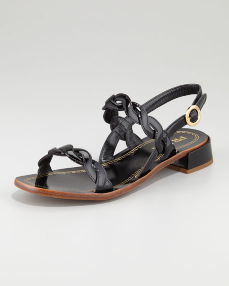 Twisted Patent Leather Sandal, Black