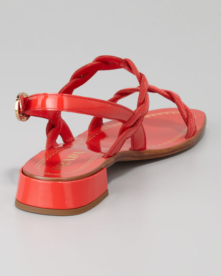 Twisted Patent Leather Sandal, Red