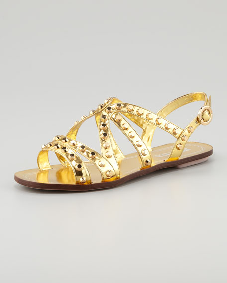 Studded Strappy Flat Sandal, Gold