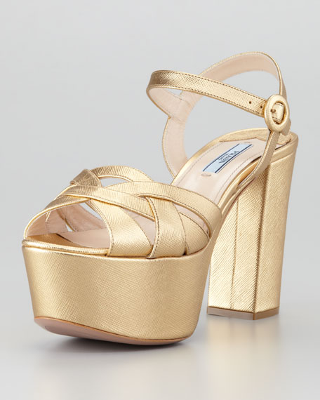 Metallic Leather Platform Sandal, Platinum