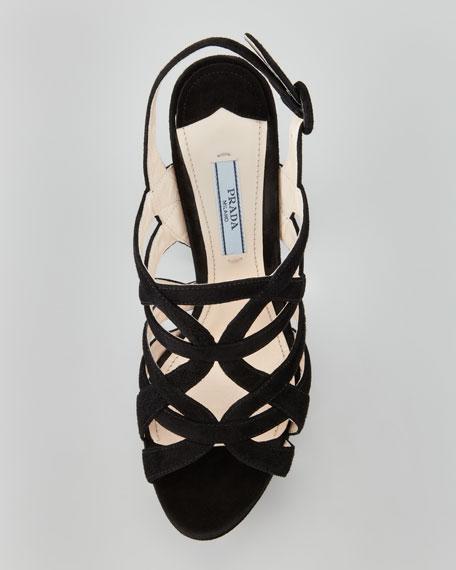 Super Platform Suede Cage Slingback Sandal, Black