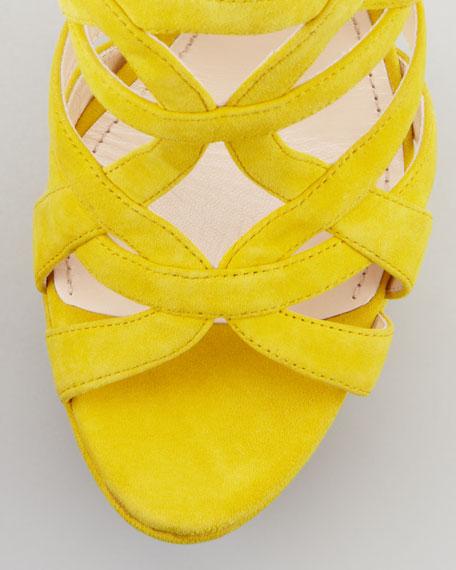 Super Platform Suede Cage Slingback Sandal, Yellow