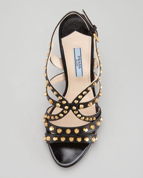 Studded Slingback Sandal, Black