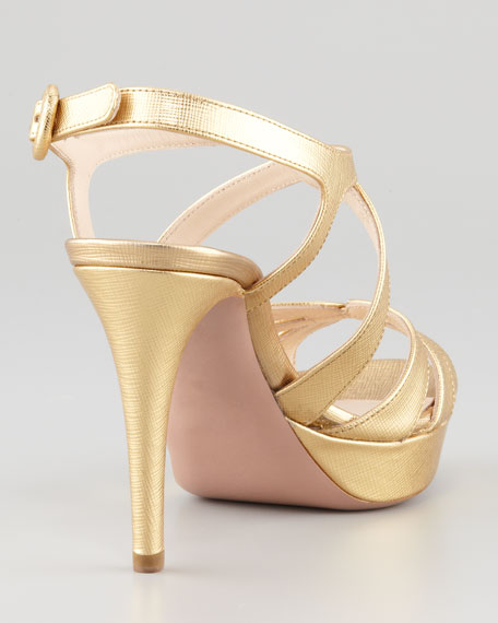 Textured Patent Saffiano Leather Sandal, Gold