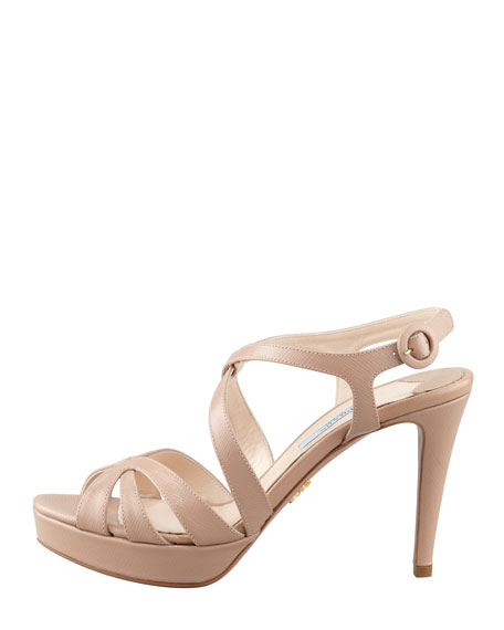 Patent Saffiano Leather Sandal, Cammeo