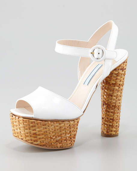 Platform Wicker Sandal, White