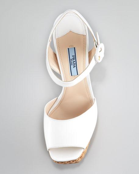 Platform Wicker Sandal, White
