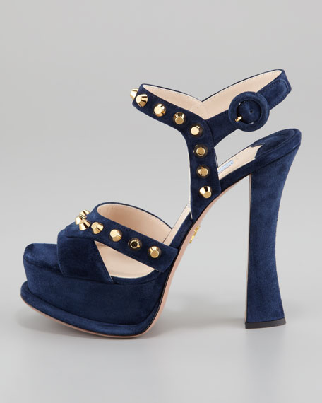 Studded Suede Ankle-Wrap Sandal, Navy