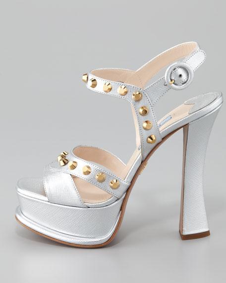 Prada Studded Metallic Ankle-Wrap Sandal, Silver