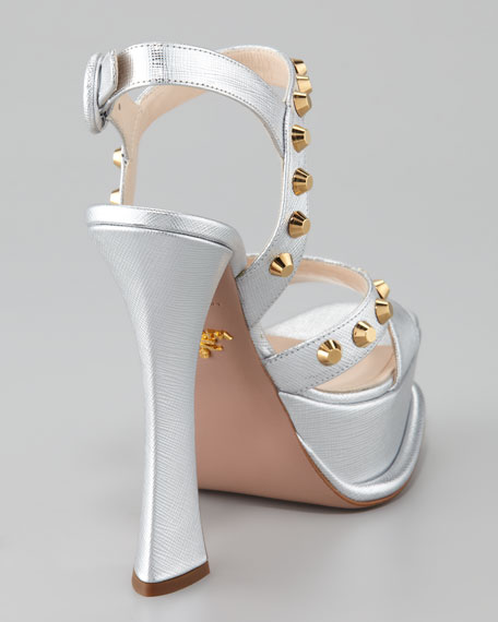 Studded Metallic Ankle-Wrap Sandal, Silver