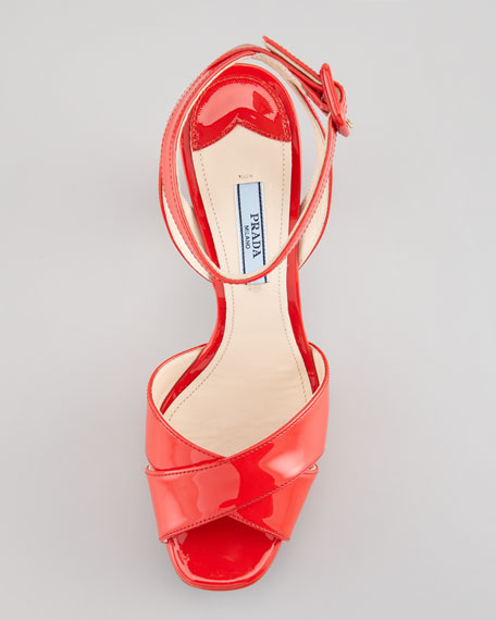 Patent-Leather Platform Sandal, Red