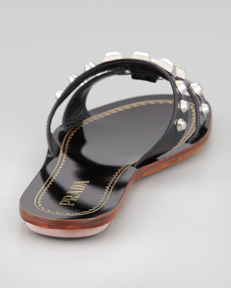 Studded H-Strap Flat Slide, Black