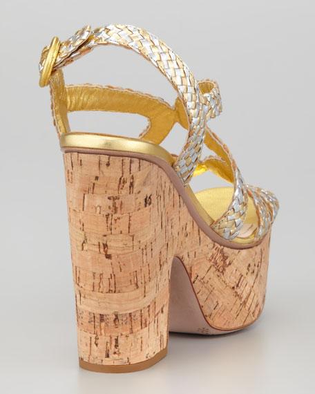 Metallic Woven Cork Sandal
