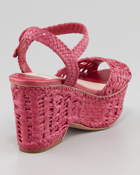 Woven Leather Wedge Sandal, Pink