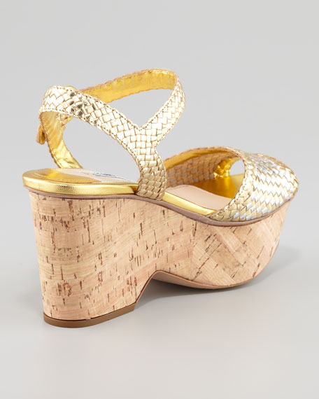 Madras Metallic Woven Cork Wedge Sandal