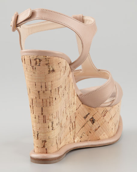 T-Strap Patent Cork Wedge, Cammeo