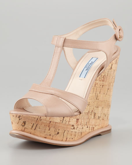 T-Strap Patent Cork Wedge, Cammeo