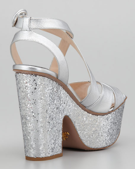 Textured Metallic Glitter Wedge