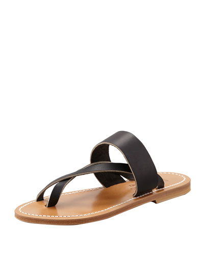 Nehru Crisscross Toe Ring Flat Sandal, Black
