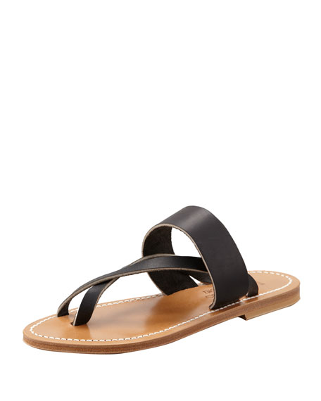 K. Jacques Nehru Crisscross Toe Ring Flat Sandal,